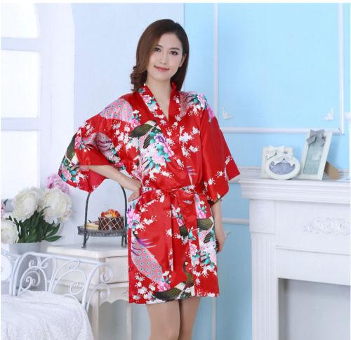 Women Flower Silk Satin Robes Bridal Wedding Bridesmaid Bride Gown Kimono Robe
