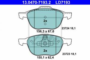 Ceramic Bremsbelagsatz Scheibenbremse Vorderachse ATE 13.0470-7193.2