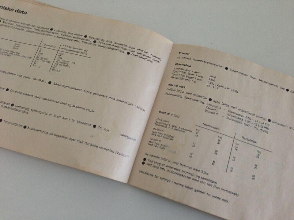 Volkswagen vw folkevogn Type 3 instruktionsbog