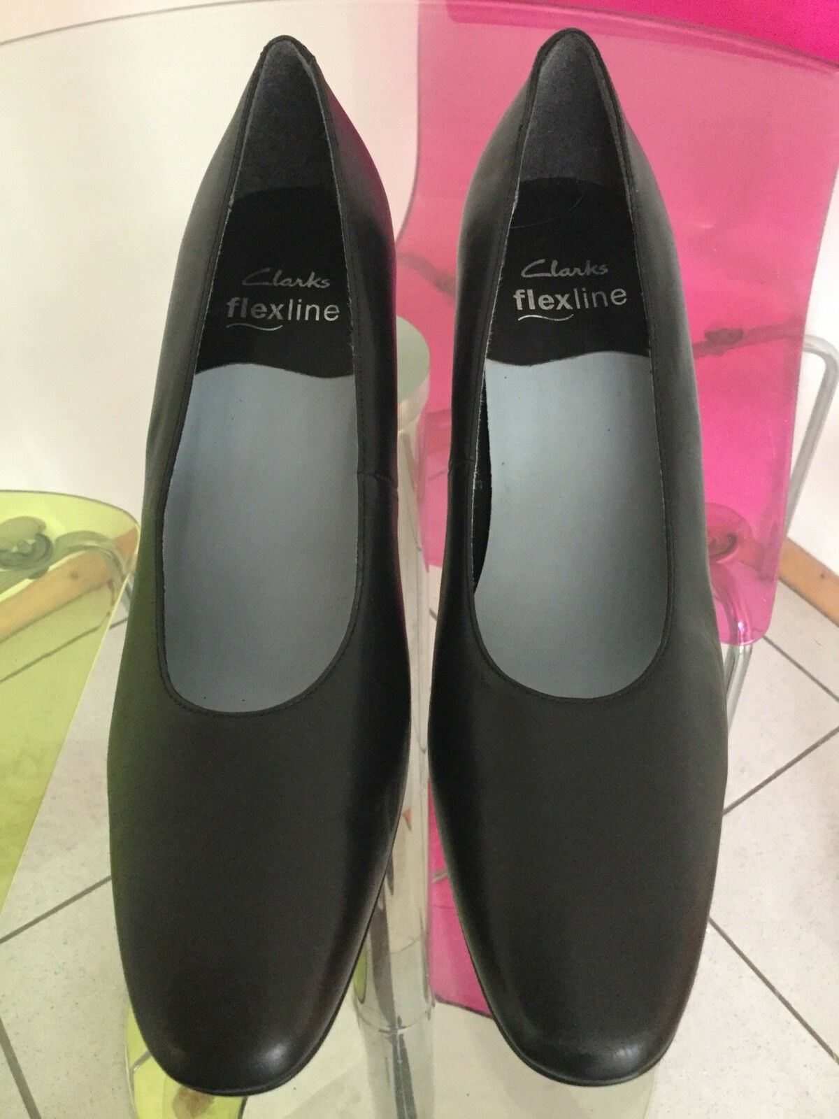 Clarks Shoes Flexline Black Leather Court Shoes Clarks Ideal Cabin Crew Size 8 New de88ad