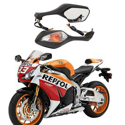 Motorcycle LED Turn Signal Racing Side Mirrors For HONDA CBR600RR 1000RR 500R