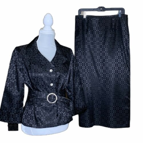 Nicolette Womens 2 Piece Skirt Suit Black Textured