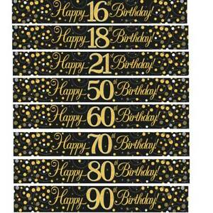 9ft-Banner-Sparkling-Fizz-Happy-Birthday-Black-amp-Gold-Holographic-All-Ages