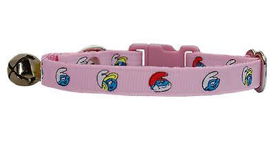 """handmade fabric pink blue """"super cute smurfs"""" safety cat kitten collar & bell"""