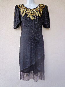 Vintage Blue Silk Fringed Art Deco Gatsby Dress 80s Flapper Fringed Silk Beaded Gown 38 Chest
