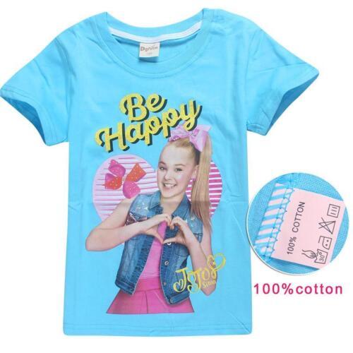 "Size 3-10 JoJo Siwa Kids T-shirt  /""Be Happy/"" Girls Tee Clothes Top"