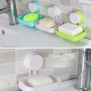 Bathroom Wall-mounted Sucker Soap Box Tray Holder Storage Case Sponge Rack