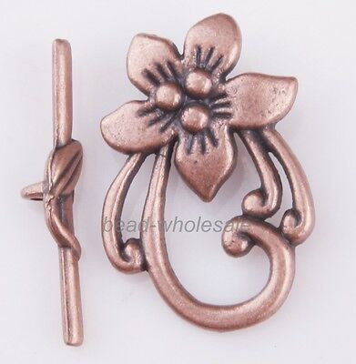 10sets Antique Copper Beautiful Flower Rattan Clasp Findings For Necklace