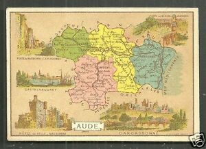 Map Of France Carcassonne.Map Card Aude Carcassonne Narbonne France 1890s Ebay