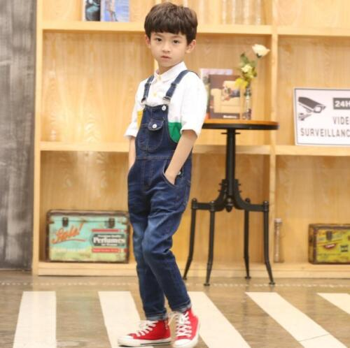 Kids Boys Girls Dungarees Overall Stretch Slim Fit Denim Jeans Pants Jumpsuit
