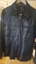 Luis Alvear Black Leather.. Lined.. Zip Front Jacket sz M..button front pockets