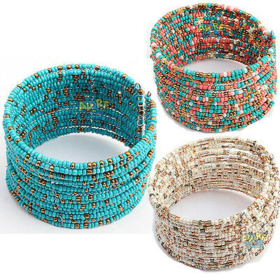 New Fashion Womens Jewelry Acrylic Beads Bohemian Bracelet Design Beaded Bangle