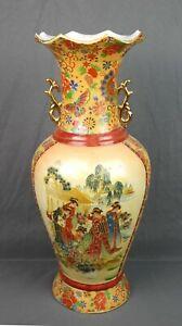 Vintage-Large-Asian-Floor-Vase-Gold-Figures-Japanse-Chinese-Satsuma-Signed