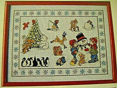 LOT OF 2 Counted Cross Stitch Kits CHRISTMAS ON THE BEACH~SNOWMAN /& FRIENDS