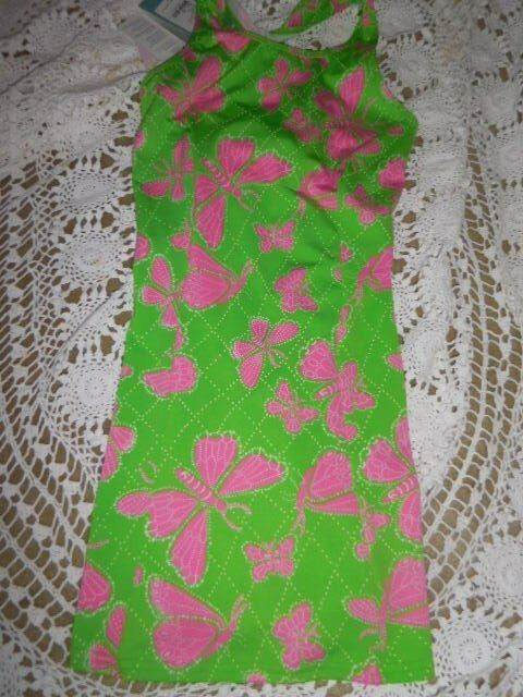 NWT Lilly Pulitzer racer back butterfly performance dress ladies XS free ship US