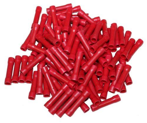 Lot de 100 manchons raccords électriques isolés à sertir ronds rouge 0.5-1.5mm2