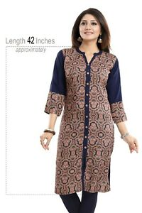 UK-Women-Indian-Kurti-Tunic-Top-Cotton-Printed-Ethnic-Kurta-Shirt-Dress-SC1082