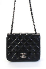 Chanel Lambskin Leather Quilted Classic Mini Square Flap Handbag Black