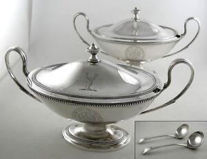 Sterling-London-1782-Georgian-oval-sauce-tureens-PAIR-w-Bateman-sauce-ladles