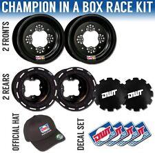 "DWT Black Champion in a Box 10"" Front 8"" Rear Rims Beadlock Rings Honda TRX400EX"