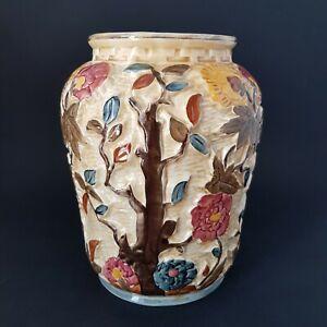 Large-Handpainted-HJ-Wood-Indian-Tree-Vase-No-573-Wood-amp-Sons-S
