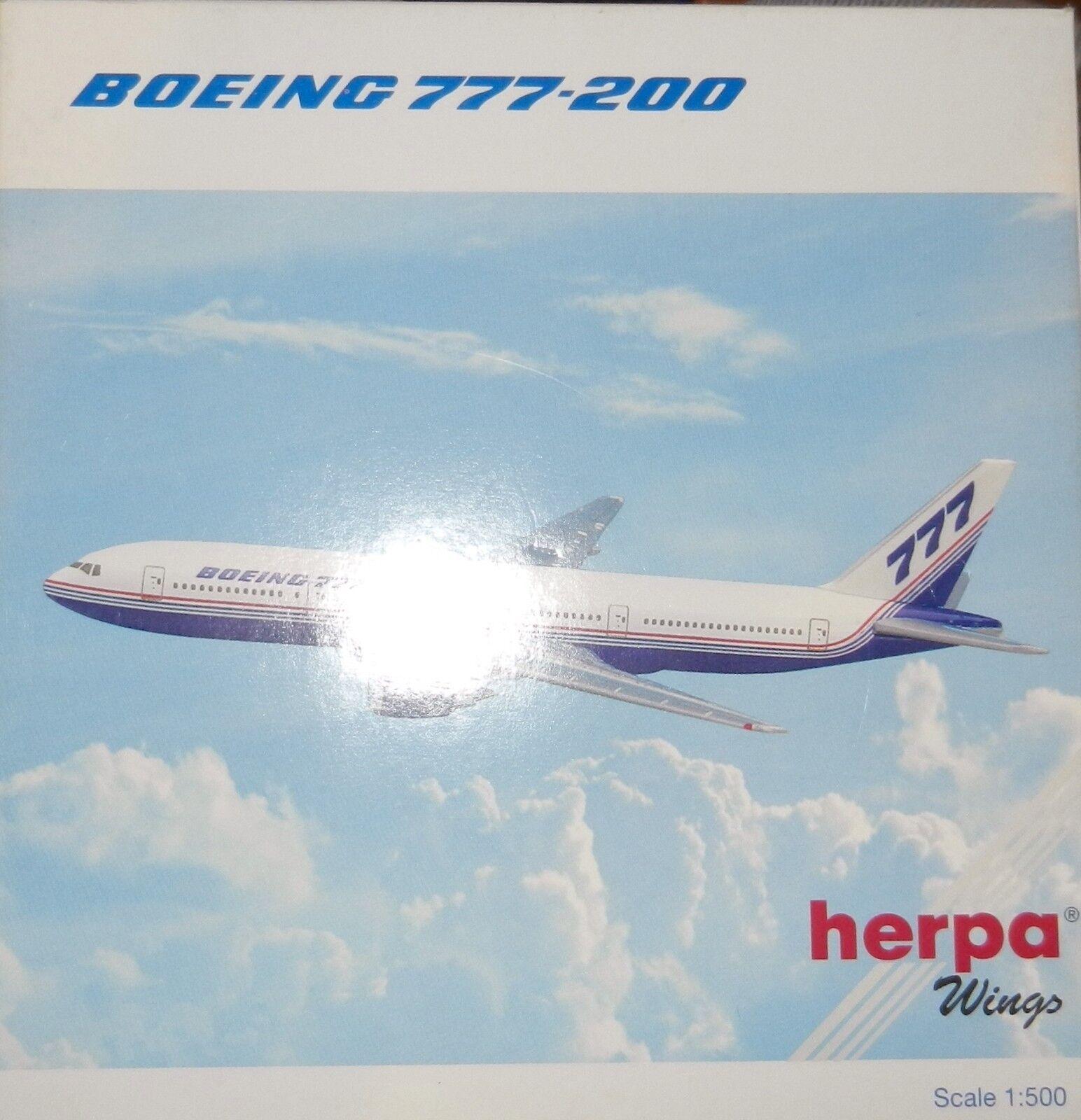 Herpa 506366 Boeing Fleet 1981 Demo House colors Boeing 777-200 777-200 777-200 1 500 Scale 2001 b56157