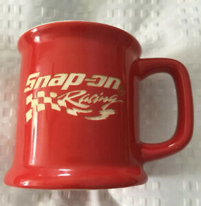 SNAP-ON-TOOLS-RACING-Red-w-White-Etched-Graphics-Logo-12-oz-Coffee-Cup-Mug
