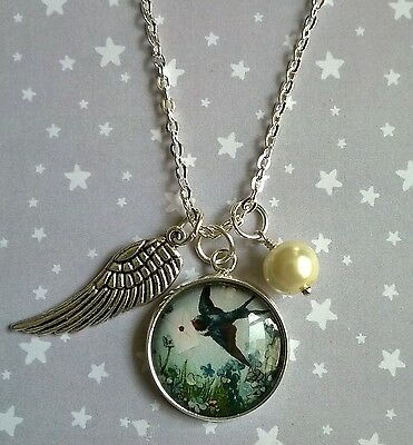 Vintage Style Swallow Bird & Forget Me Not Pearl Charm Pendant Necklace Silver