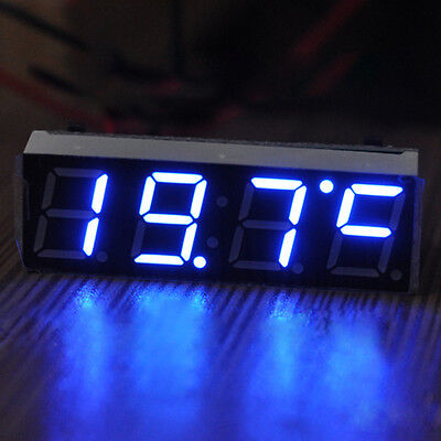 New Blue Car Auto Digital LED Electronic Time Clock + Voltmeter + Thermometer
