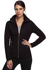 ACEVOG Women Wool Blend Coat Zipper Long Sleeve Outwear Jacket Sweatshirt