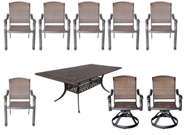 9-piece patio dining set Elisabeth Cast aluminum table with Santa Clara chairs.