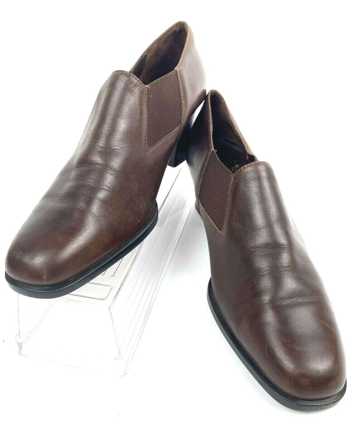 Aerosoles Shoes Heel a Copter Brown Leather Loafers Booties Shoes Womens Sz 7.5B