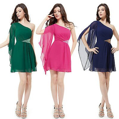 One Shoulder Short Cocktail Party Club Mini Gown Bridesmaid Formal Dresses 03613