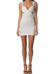 Women-039-s-Sleeveless-White-Crochet-Cut-out-Mini-Party-Formal-Dress-Size-M-L