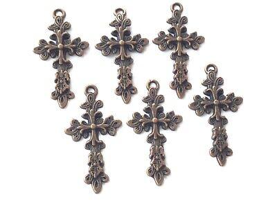 8PCS Antique Cuivre Chapelet Crucifix Croix Charms-Rosaire Finding