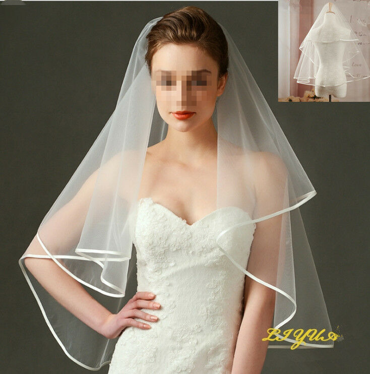 Bridal Veil 2LG Two-Layer Wedding Veil with satinkate White Ivory NEW