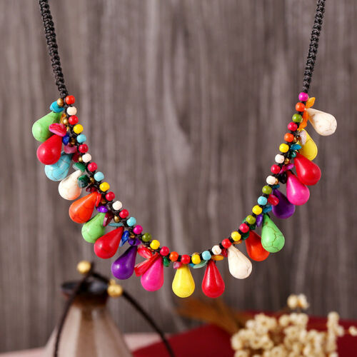 Femme Fashion Bohemia Multicolore Turquoise Perles Chaîne Collier Pendentif