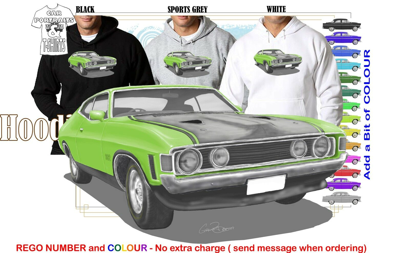 72-73 XA FALCON COUPE HOODIE ILLUSTRATED CLASSIC RETRO MUSCLE SPORTS CAR