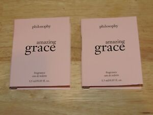 2 Amazing Grace Philosophy 0.1 Oz 3 mL Total Toilette Womens Fragrance Lot Set