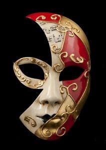 Maschera Di Costume Luna Veneziana Agua Musica Rosso Bordeaux 1852 V52