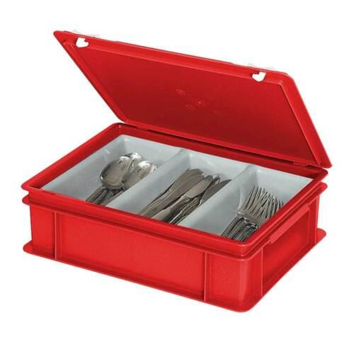 3 Mulden je 2 Liter Besteckkasten // Sortierbehälter rot 400 x 300 x 130 mm