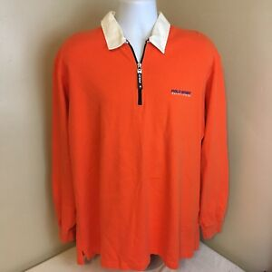 Vtg-Polo-Sport-Ralph-Lauren-Mens-Orange-Shirt-Spell-Out-Large-Long-Sleeve-FS