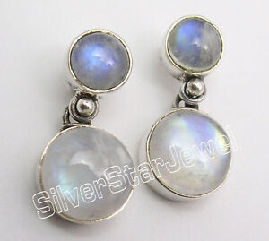 "Adaptable 925 Silver Rainbow Moonstone Clous Post Boucles D'oreilles 0.9""-afficher Le Titre D'origine"