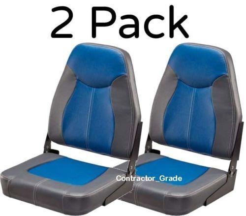 2 Boat Seats Folding Blue Charcoal-Gray High Back Fishing Pontoon Boats Set Pack