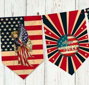 American Flag USA Independence Day 4th July Party Bunting Banner Decoration