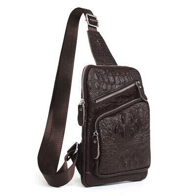 100/% Genuine Leather Crocodile Pattern Men/'s Shoulder Messenger Bag Crossbody