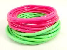 New 20 Piece Pastel Fucshia & Green Jelly Bracelet Set #B1097