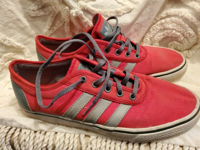 Adidas Men's Seeley Skate Shoes size 9 RED GRAY Canvas Low Profile