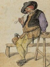 CORNELIS DUSART DUTCH PEASANT SMOKING OLD ART PAINTING POSTER PRINT BB5156A