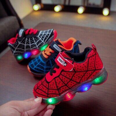 LED Luminous Lights Hero Spiderman soft mesh sport sneaker boy/'s shoes for kids
